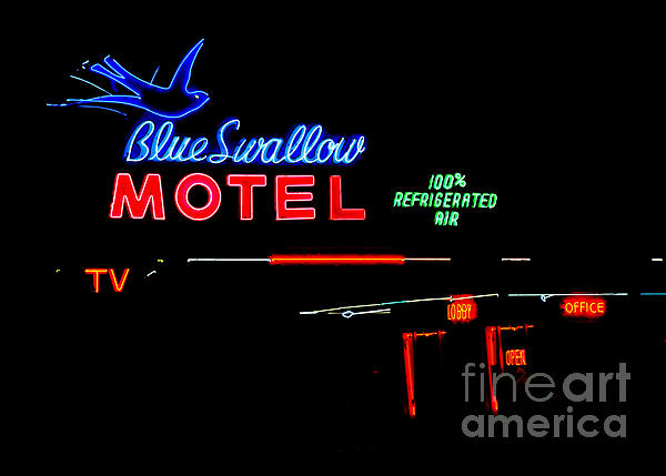 Blue Swallow Motel Neon Sign Print by Catherine Sherman
