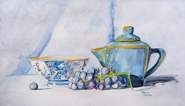 Blue Teapot  Print by Janina  Suuronen
