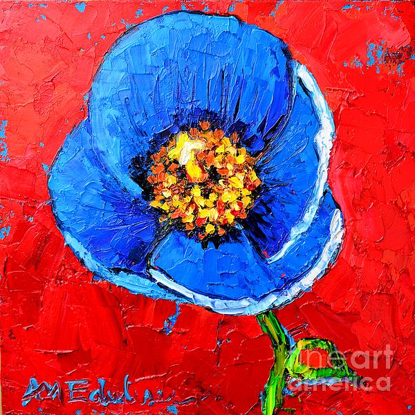 Blue Tibetan Poppy Print by Ana Maria Edulescu