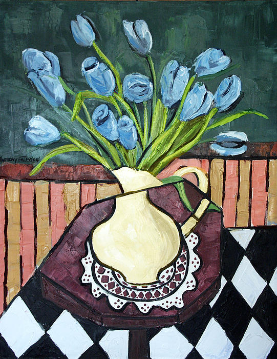 Blue Tulips On Octagon Table Print by Anthony Falbo