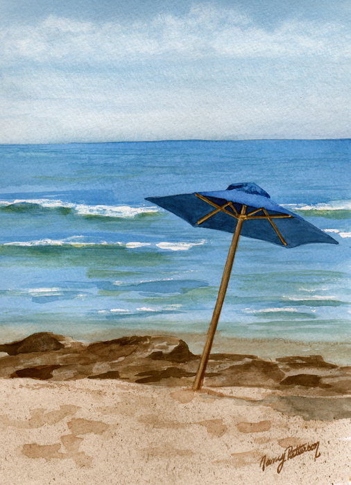 Blue Umbrella Print by Nancy Patterson