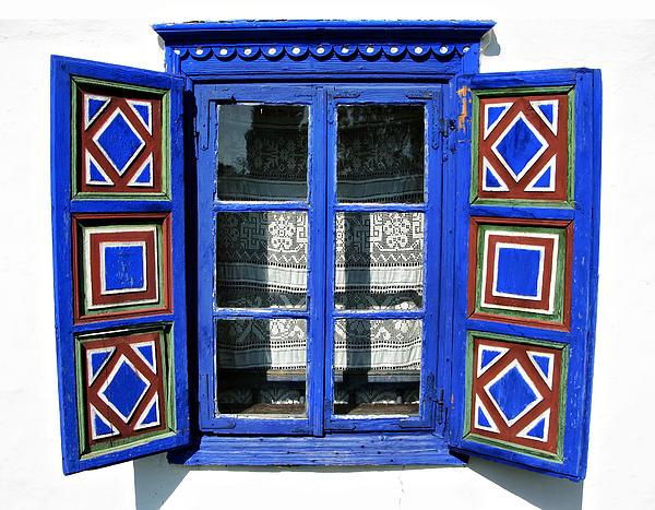 Blue Window Handmade Print by Daliana Pacuraru