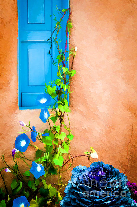 Blue Window - Painted Print by Bob and Nancy Kendrick