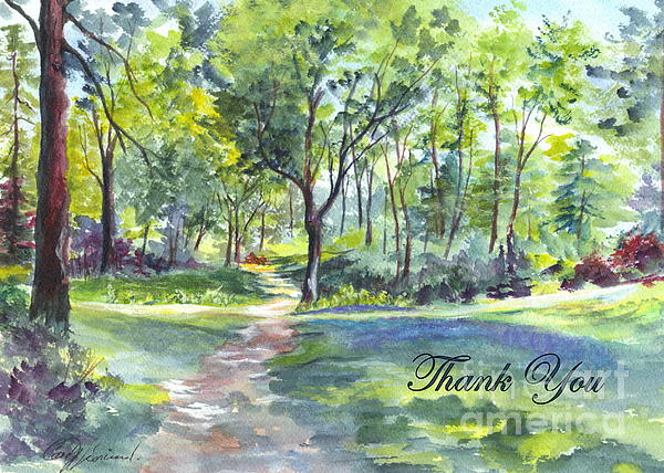Bluebell Woods  Thank You Print by Carol Wisniewski