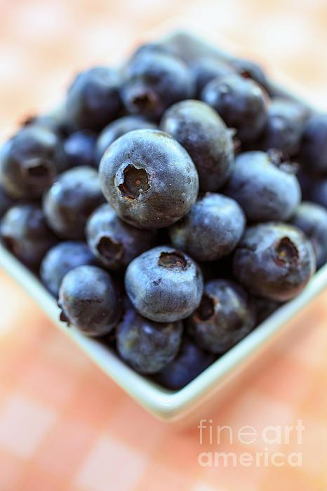 Blueberries Closeup Print by Edward Fielding