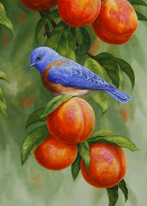 Bluebird And Peaches Greeting Card 2 By Crista Forest
