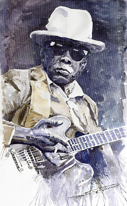 Bluesman John Lee Hooker 3 Print by Yuriy  Shevchuk