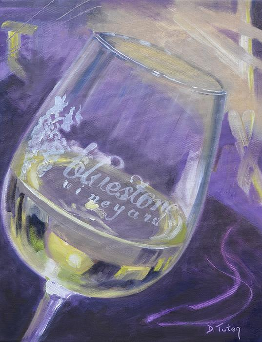 Bluestone Vineyard Wineglass Print by Donna Tuten