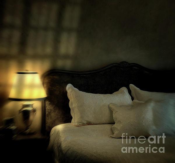 Blurry Image Of A Vintage Looking Bedroom Print by Sandra Cunningham