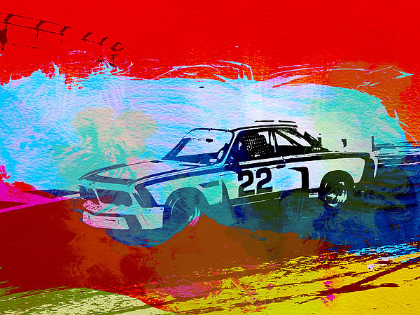 Bmw 3.0 Csl Racing Print by Naxart Studio