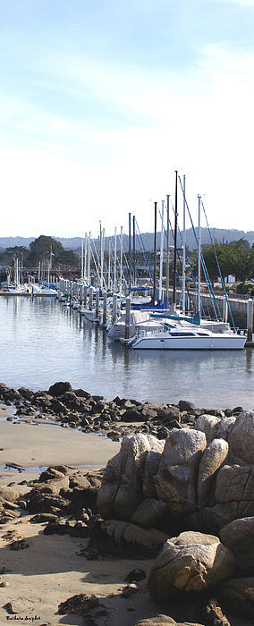 Boat Dock And Big Rocks Right Print by Barbara Snyder
