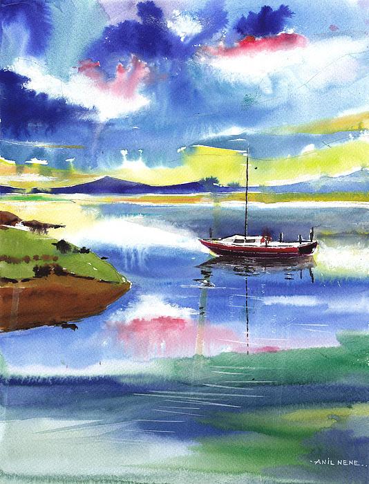 Boat N Colors Print by Anil Nene