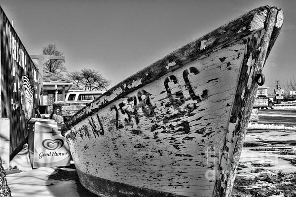Boat - State Of Decay In Black And White Print by Paul Ward