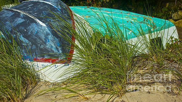 Boats And Beachgrass Print by Amazing Jules