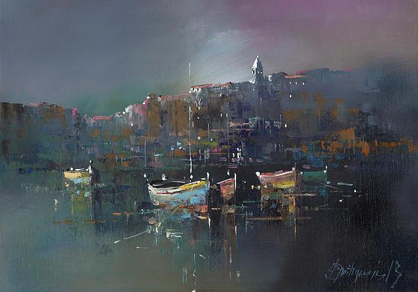 Boats At Dusk Print by Branko Dimitrijevic