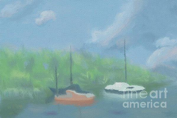 Boats In Cove Print by Arlene Babad