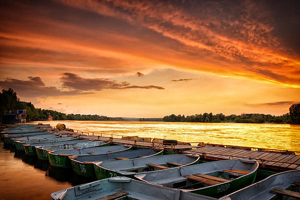 Boats In The Fire Print by Igor Baranov