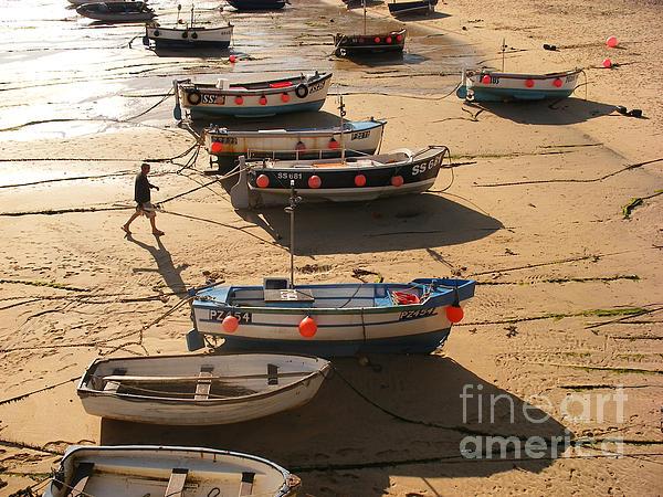 Boats On Beach Print by Pixel  Chimp
