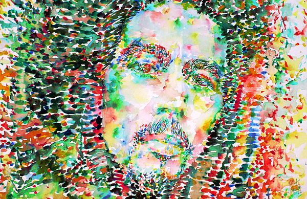 Bob Marley Watercolor Portrait.3 Print by Fabrizio Cassetta