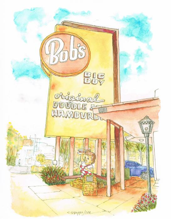 Bob's Big Boy In Burbank - California Print by Carlos G Groppa