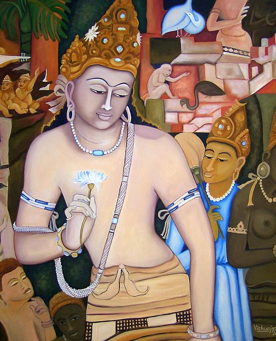 Bodhisattva Padmapani Print by Vishwajyoti Mohrhoff