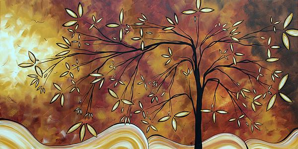 Bold Neutral Tones Abstract Landscape Art Oversized Original Painting The Wishing Tree By Madart Print by Megan Duncanson