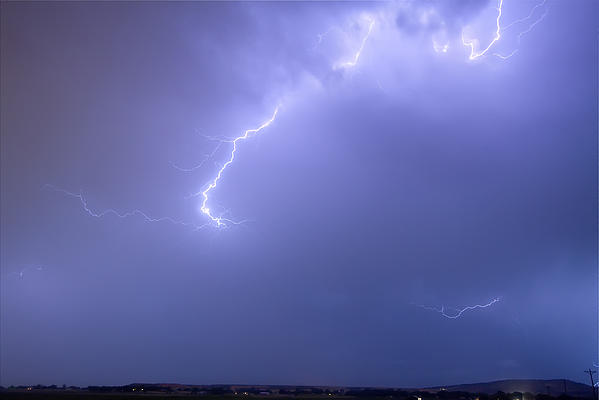 Bolts Of Lightning Arcing Through The Night Sky Print by James BO  Insogna