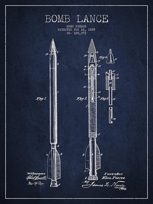 Bomb Lance Patent Drawing From 1885 Print by Aged Pixel