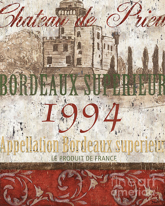 Bordeaux Blanc Label 2 Print by Debbie DeWitt