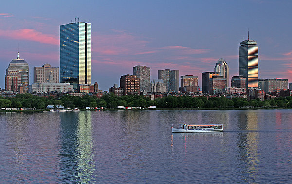 Boston Skyline And Sightseeing Boat Print by Juergen Roth
