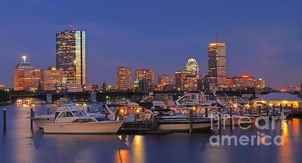 Boston Skyline In Blue And Gold Print by Joann Vitali