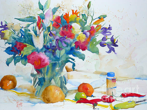 Bouquet And Red Peppers Print by Andre MEHU