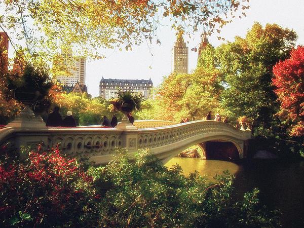 Bow Bridge - Autumn - Central Park Print by Vivienne Gucwa