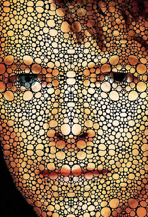 Bowie - Stone Rock'd Art By Sharon Cummings Print by Sharon Cummings