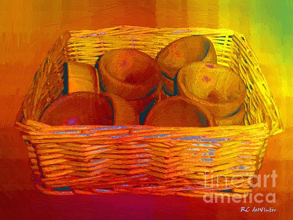 Bowls In Basket Moderne Print by RC deWinter
