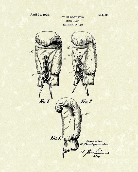 Boxing Glove 1925 Patent Art Print by Prior Art Design