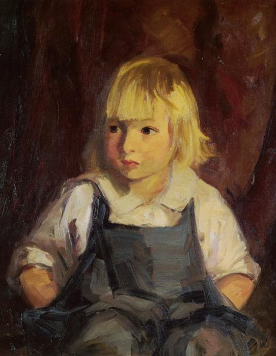 Boy In Blue Overalls Print by Robert Henri
