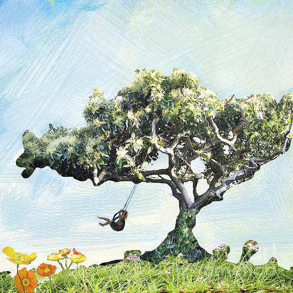 Boy On A Swing Print by Linde Townsend