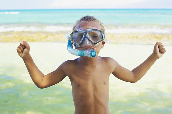 Boy With Snorkel Print by Kicka Witte