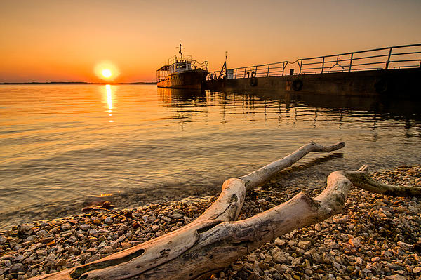 Branch Barge And Sunset Print by Davorin Mance