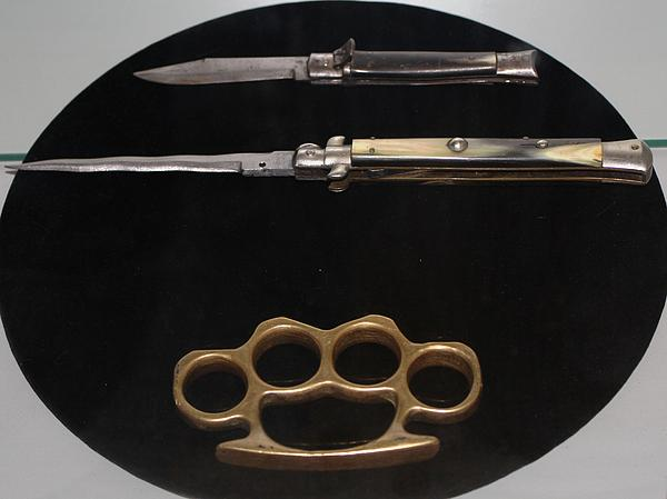 Brass Knuckles And Knives Print by Steven Parker