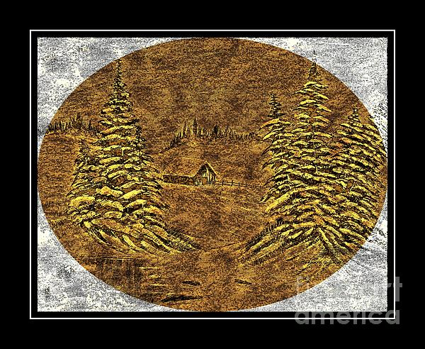 Brass-type Etching - Oval - Cabin Between The Trees Print by Barbara Griffin