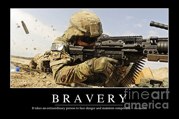 Bravery Inspirational Quote Print by Stocktrek Images