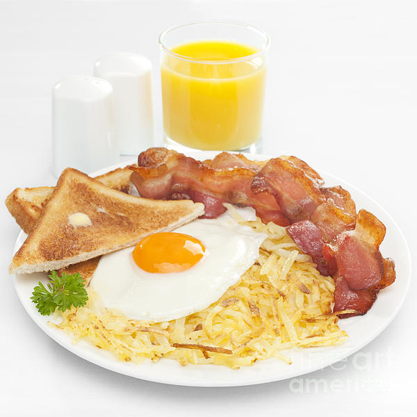 Breakfast Hash Browns Bacon Fried Egg Toast Orange Juice Print by Colin and Linda McKie