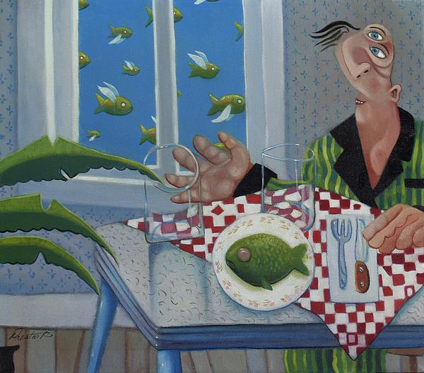 Breakfast In Barbados 1989 Print by Larry Preston