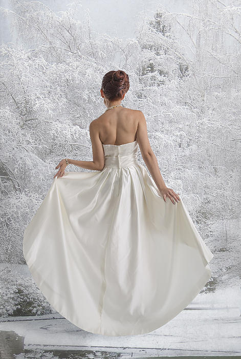 Bride In The Snow Print by Angela A Stanton