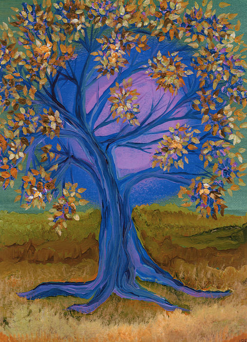 Bridesmaid Tree Blue Print by First Star Art