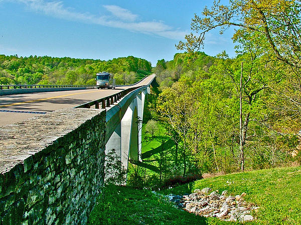 Bridge Over Birdsong Hollow At Mile 438 Of Natchez Trace Parkway-tennessee Print by Ruth Hager