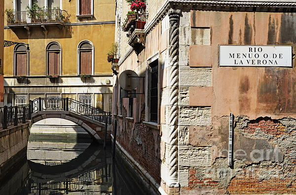 Bridge Over Narrow Canal Print by Sami Sarkis