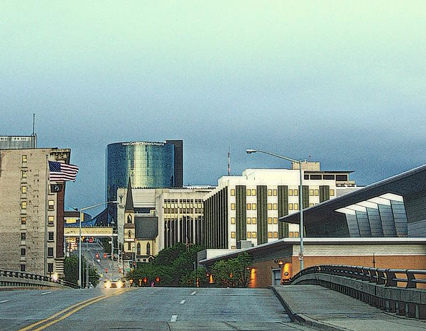 Bridge Street View Of Downtown Grand Rapids Michigan Print by Rosemarie E Seppala